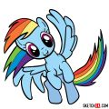 How to draw Rainbow Dash in a flight