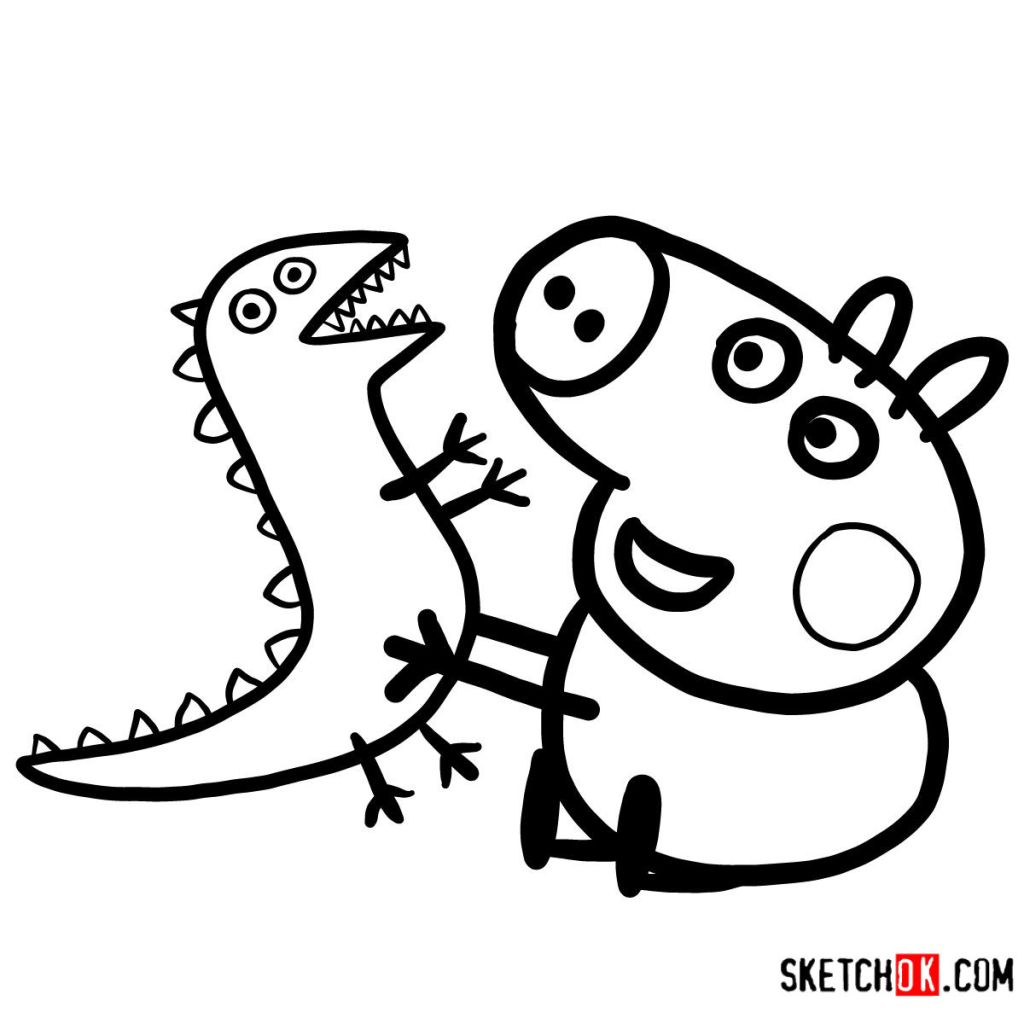 How to draw George Pig with a dino toy