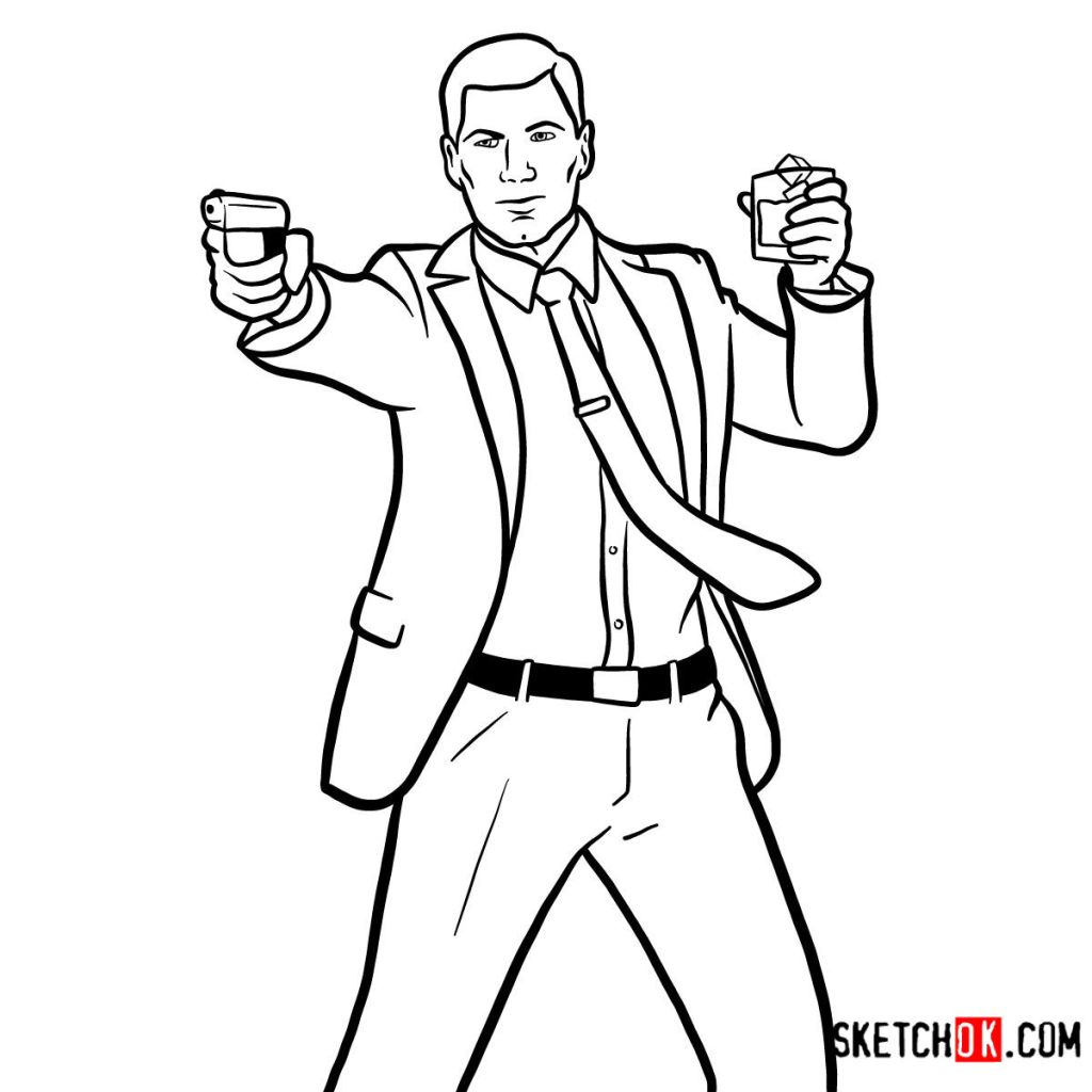 How to draw Sterling Archer with a pistol