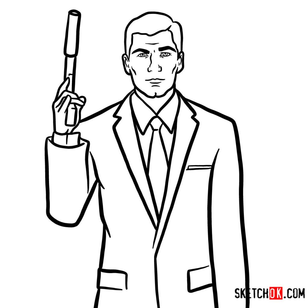 How to draw special agent Archer to the waist