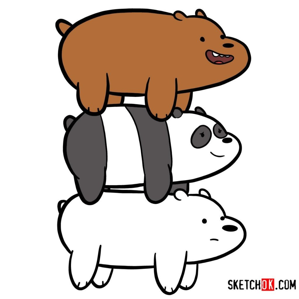 How to draw the bears standing on each others back
