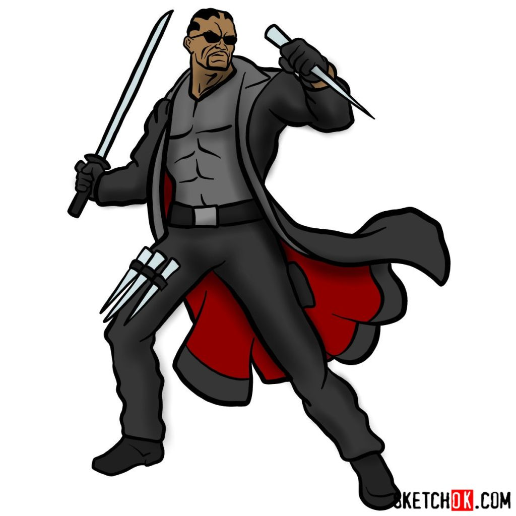 How to draw Blade from Marvel Comics