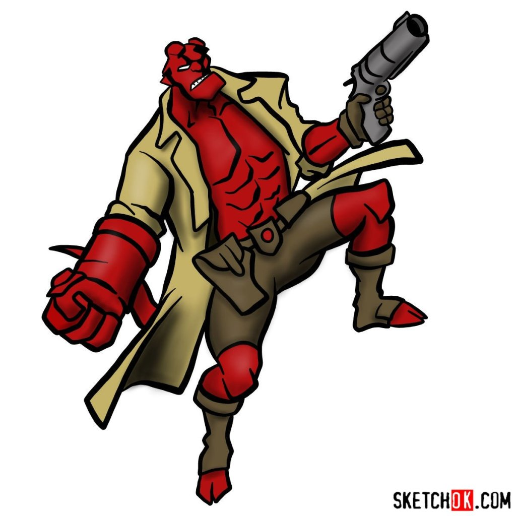 How to draw Hellboy with a gun