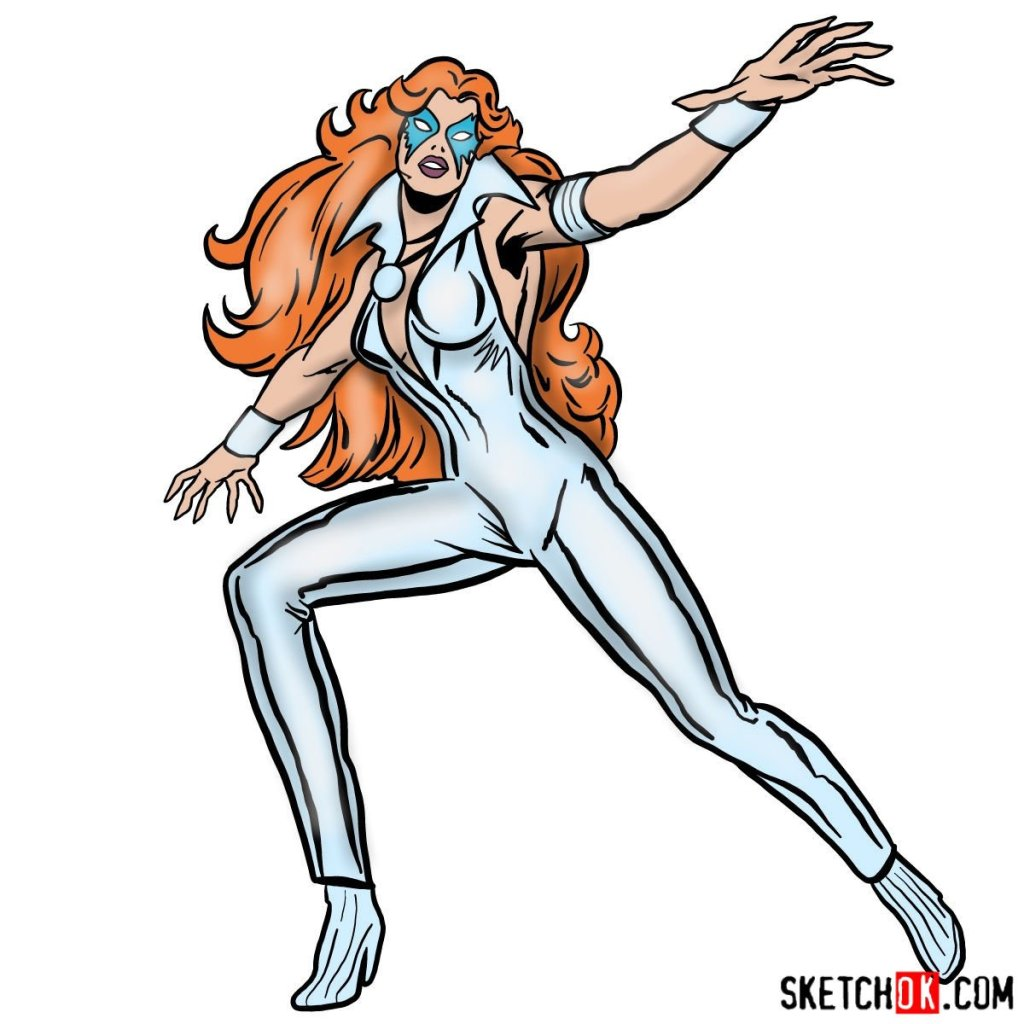 How to draw Dazzler the mutant from X-Men series
