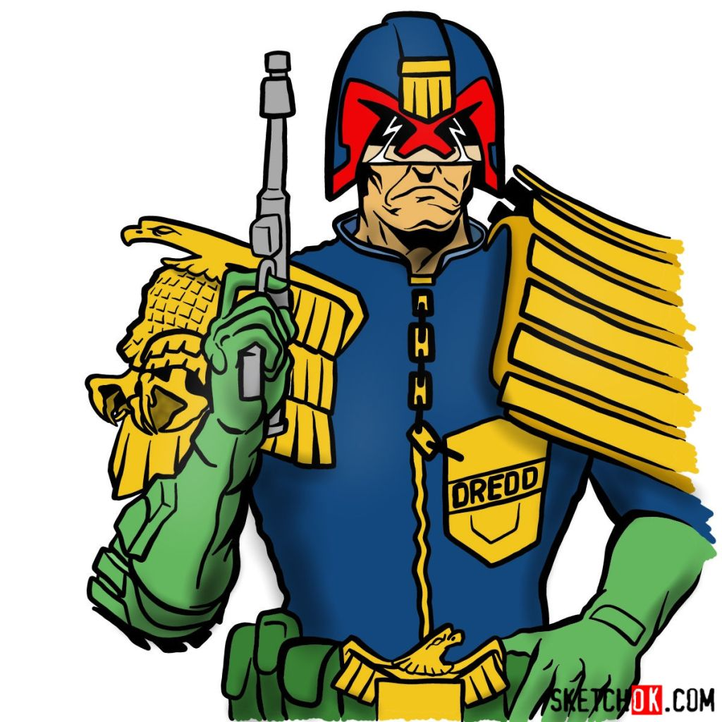 How to draw Judge Dredd to the waist