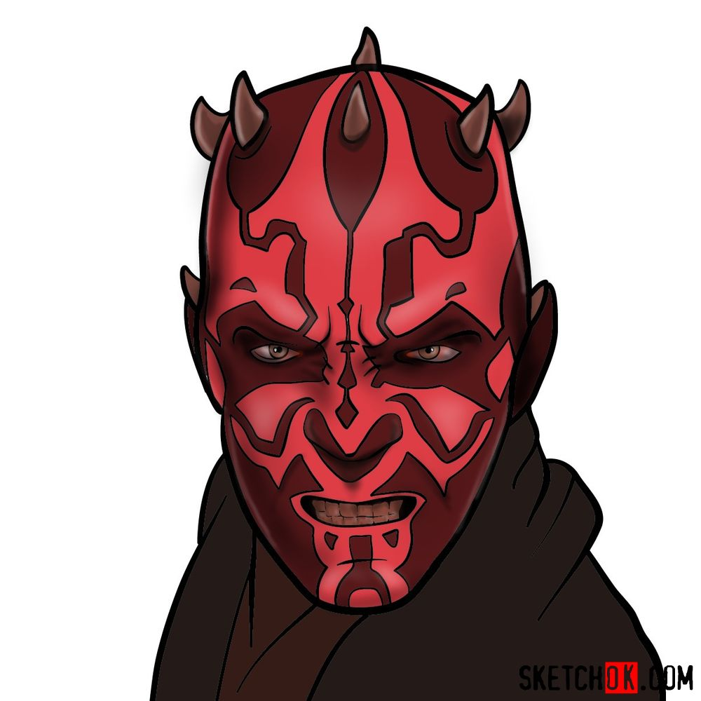 How to draw Darth Maul's face | Star Wars