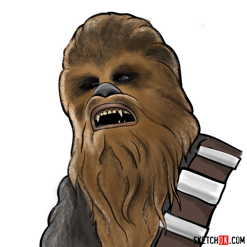 How to draw Chewbacca's face | Star Wars