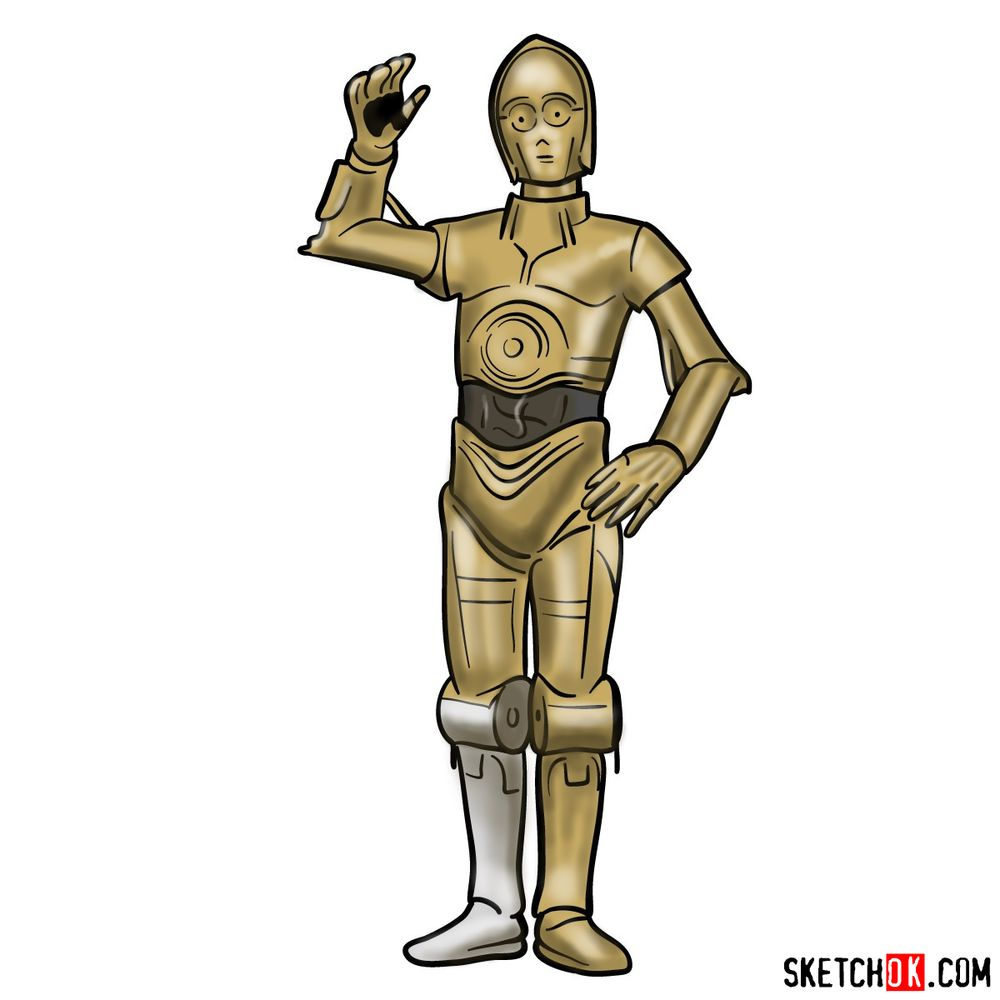 How to draw C3PO