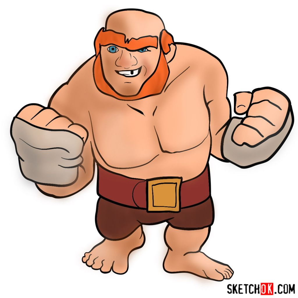 How to draw Boxer Giant from Clash of Clans