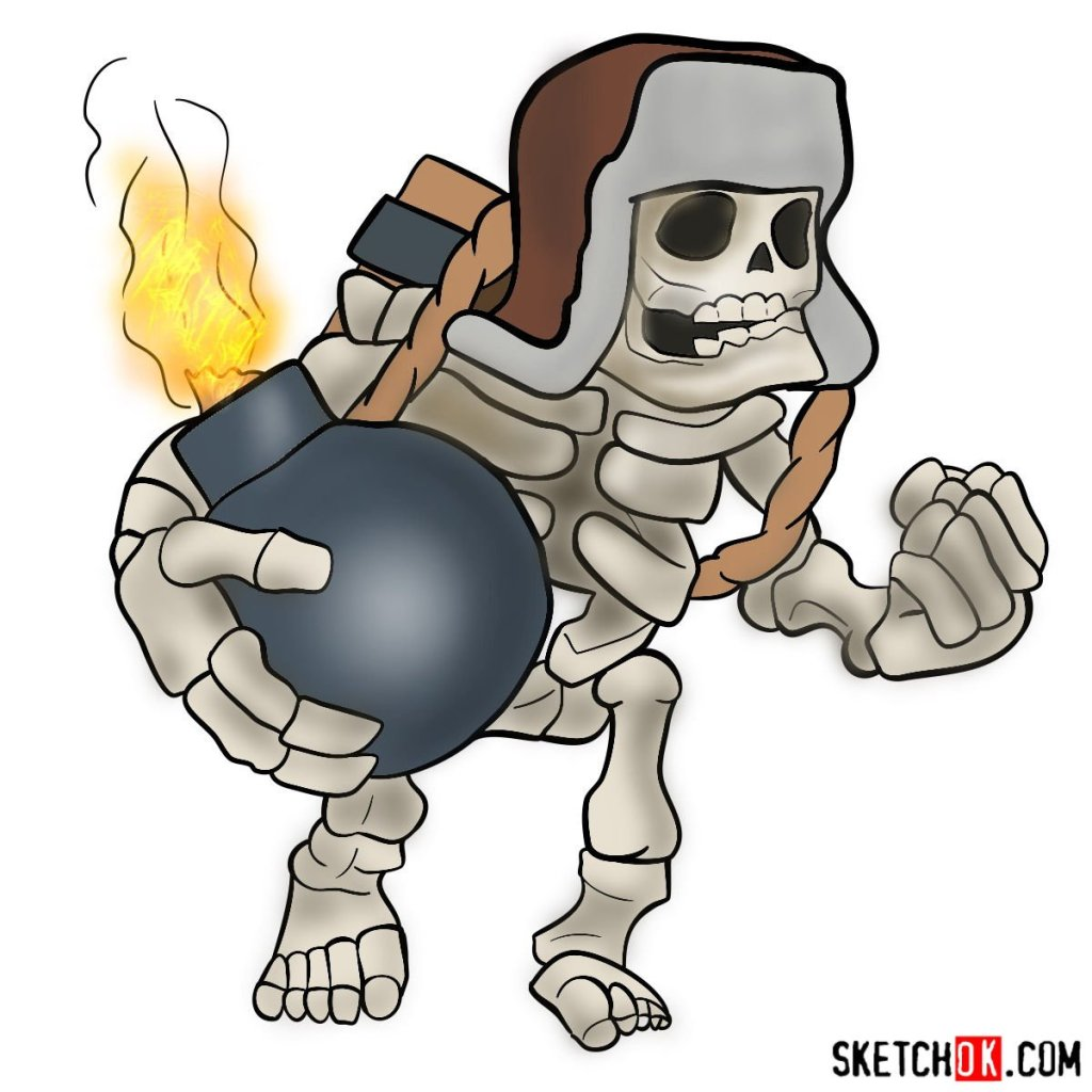 How to draw Giant Skeleton from Clash of Clans