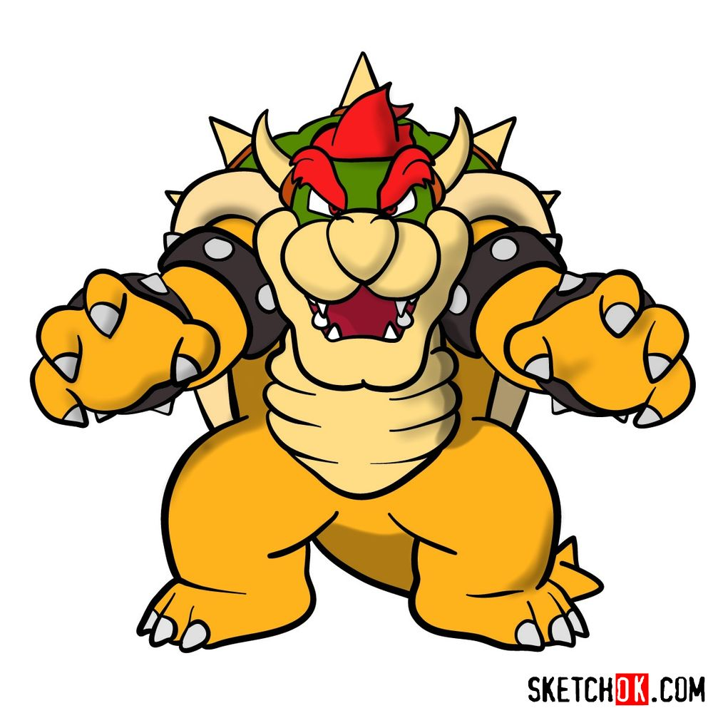 How to draw Bowser from Super Mario games