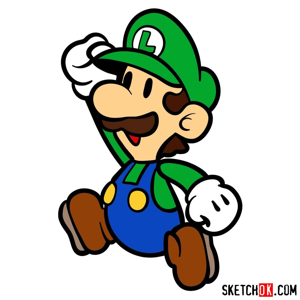 How to draw classic Luigi in 2D from Super Mario games