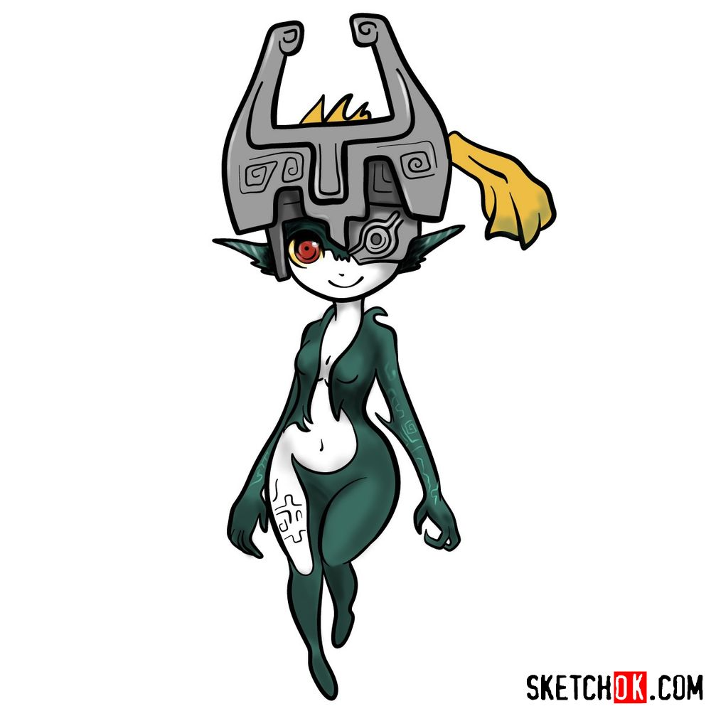 How to draw Midna from The Legend of Zelda game