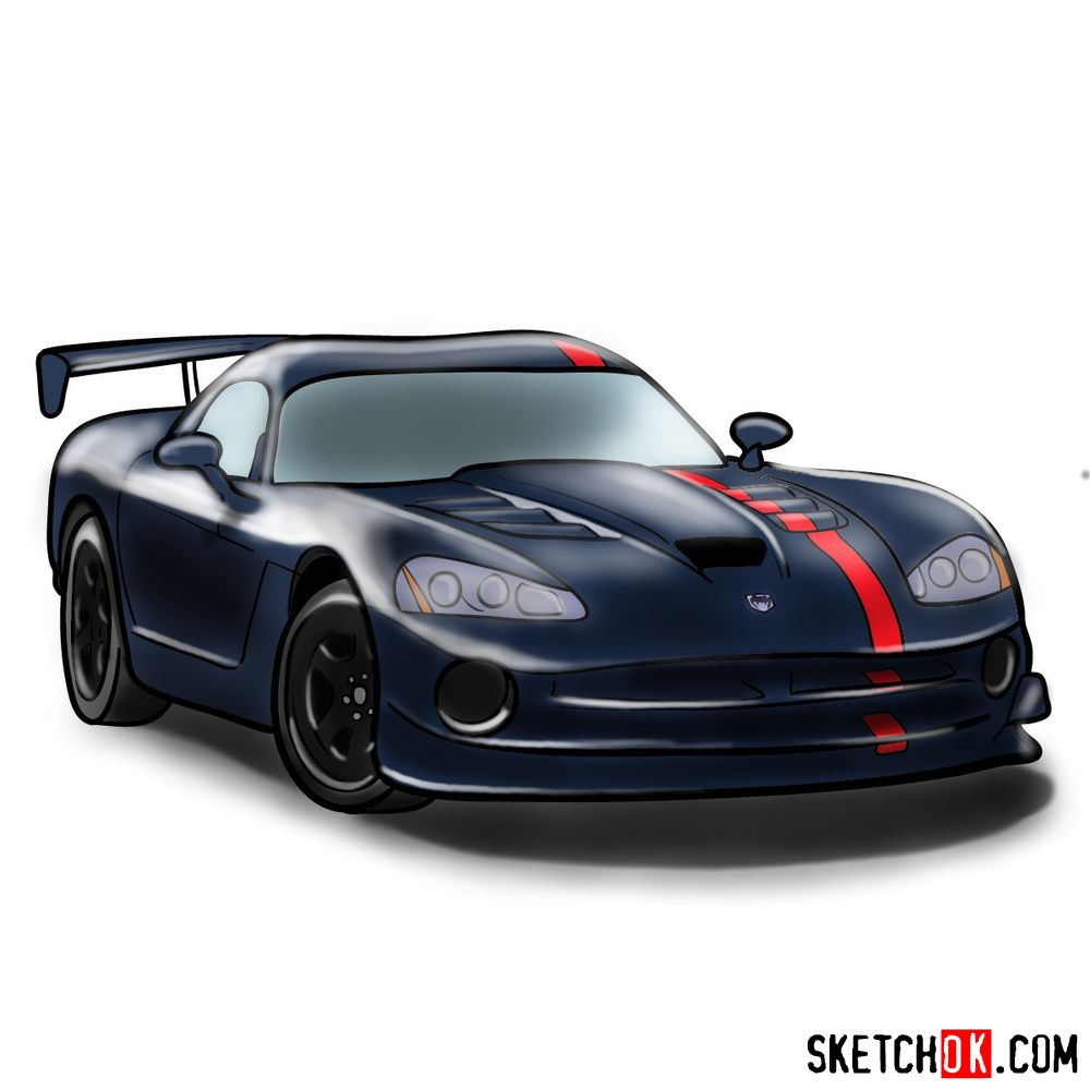 How to draw 2008 Dodge Viper SRT10 ACR