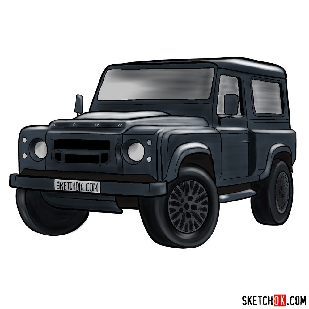 How to draw Land Rover Defender 2.2
