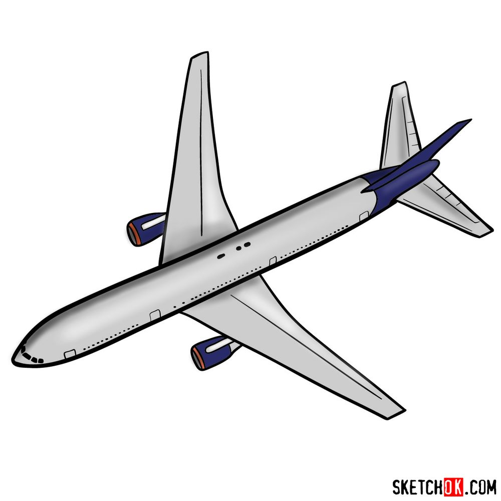 How to draw Boeing 767