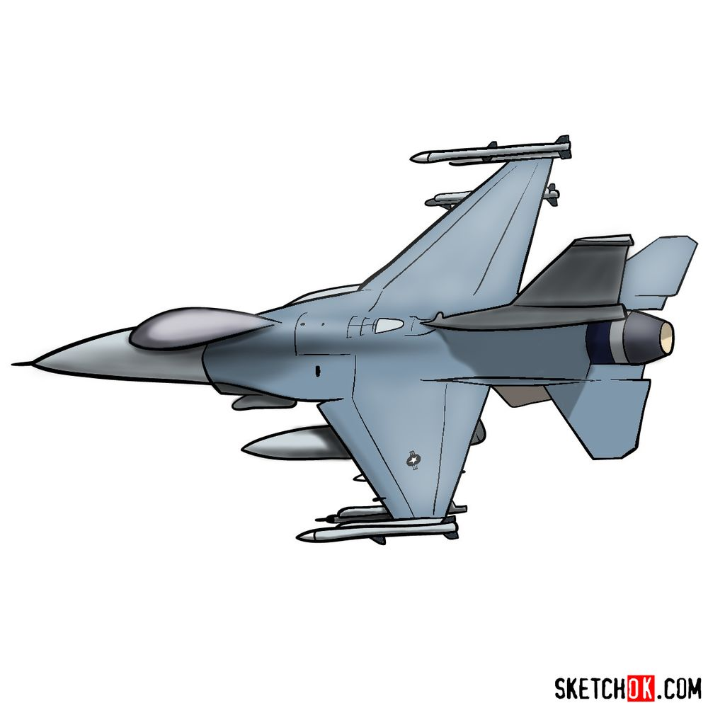 How to draw Lockheed Martin F-16 Fighting Falcon