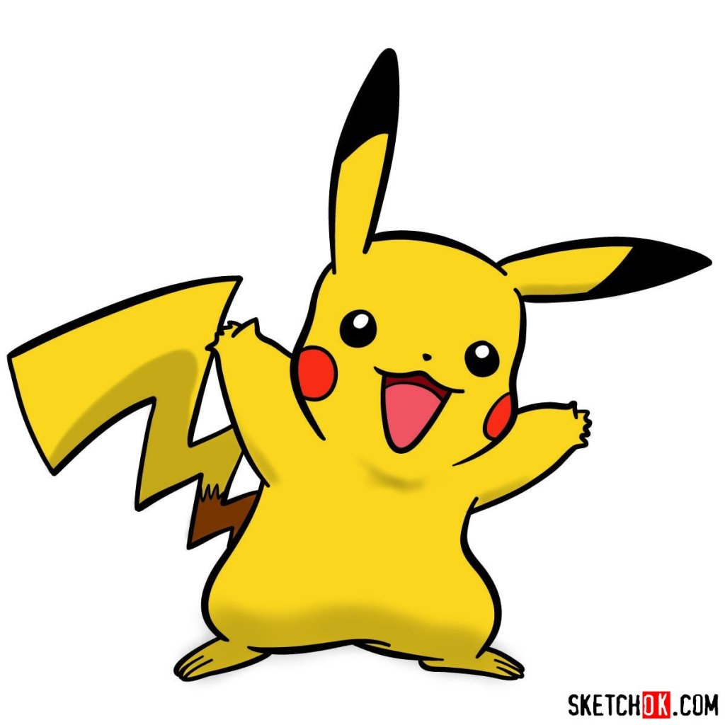 How to draw Pikachu Pokemon with arms wide open