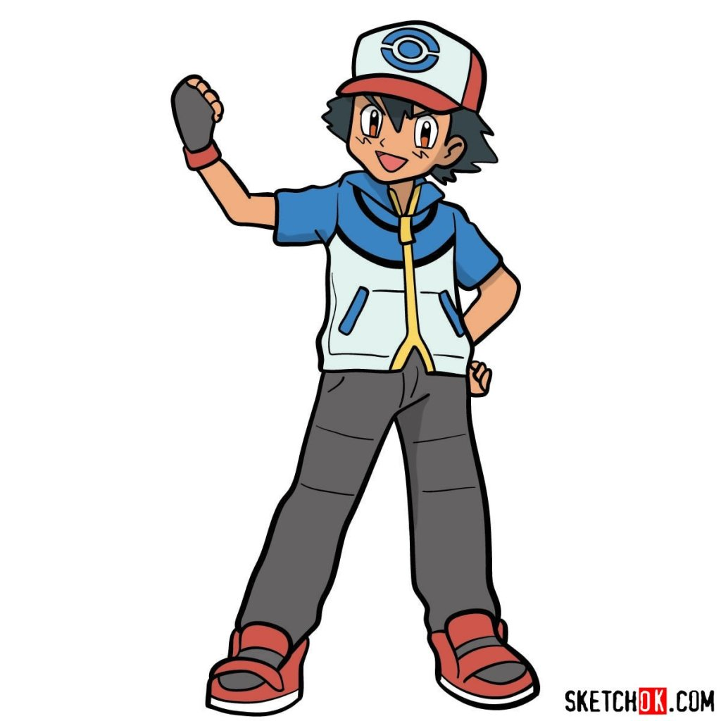 How to draw Ash from Pokemon anime