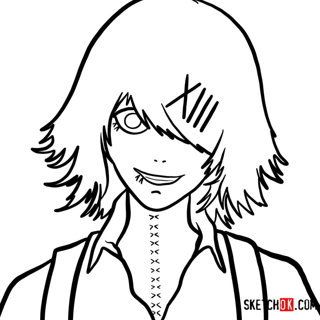 How to draw Juuzou Suzuya's face