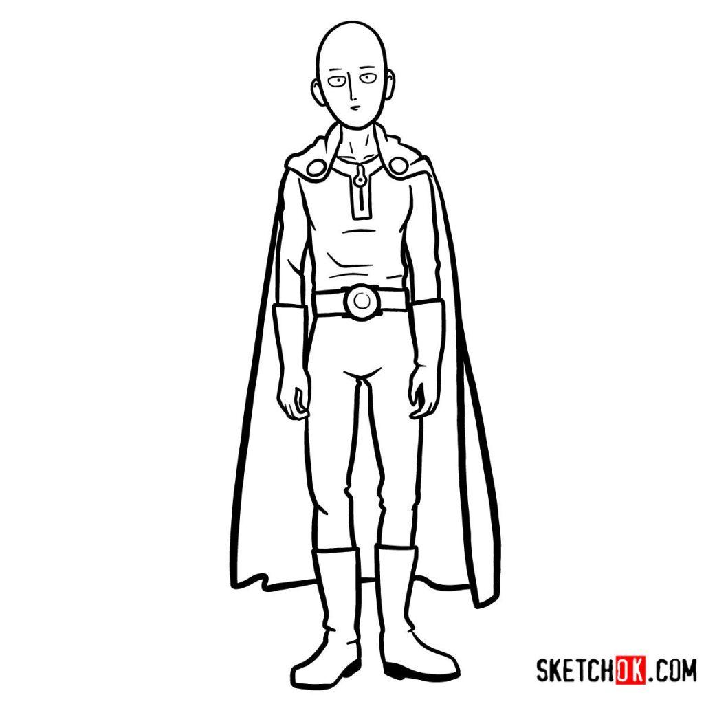 13 steps drawing tutorial of Saitama One-Punch Man