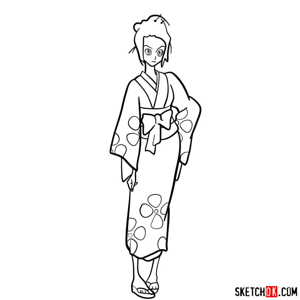 Drawing Fuu in full growth in 14 steps | Samurai Champloo