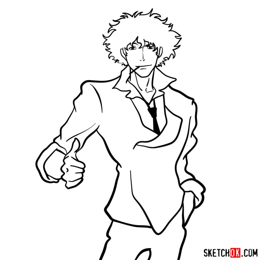 How to draw Spike Spiegel from Cowboy Bebop