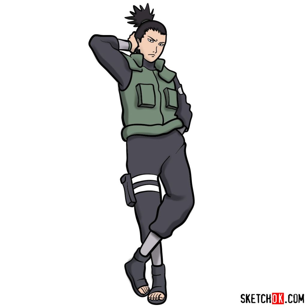 How to draw Shikamaru Nara from Naruto anime