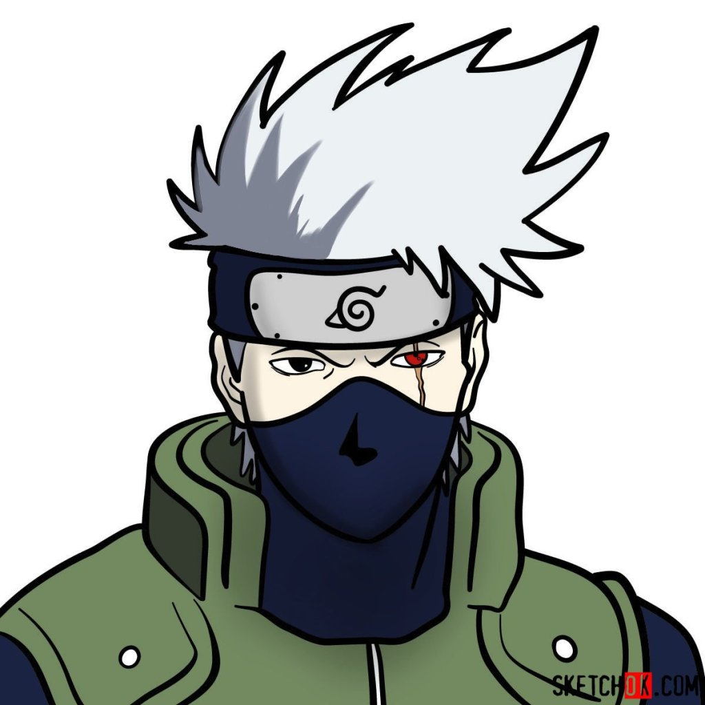 How to draw the face of Kakashi Hatake (Naruto)
