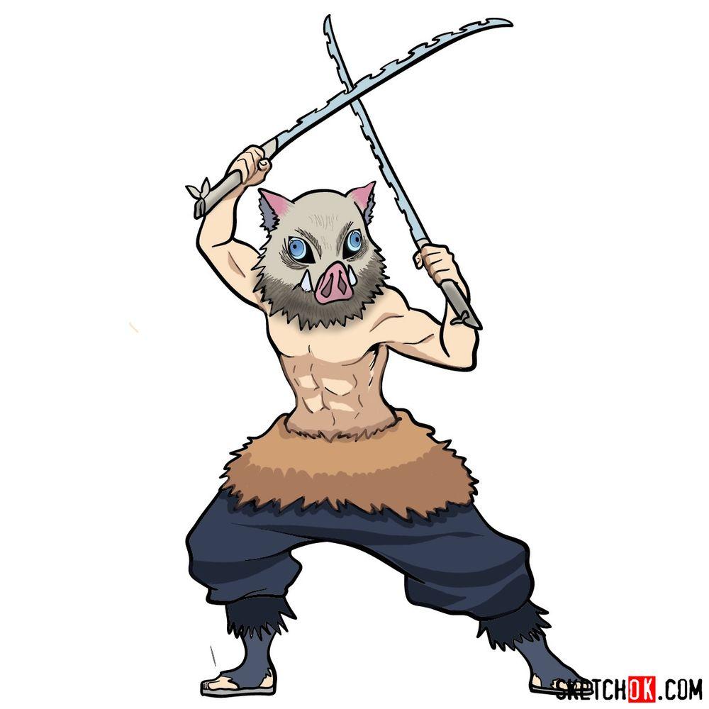 How to draw Inosuke Hashibira | Demon Slayer