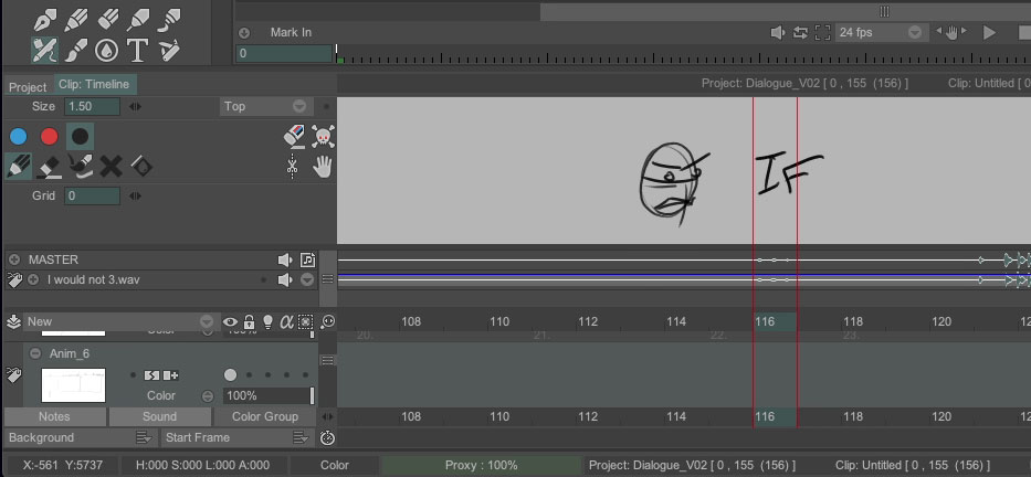 A screenshot of TV Paint notes panel with a loose drawing of a facial expression on frame 114 and the word if on frame 16