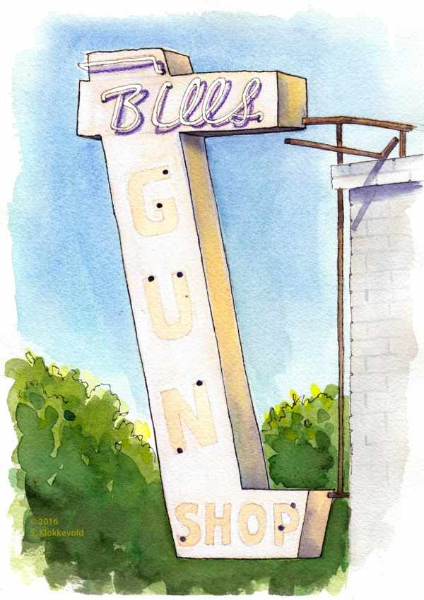 Bill's Gun Shop Sign