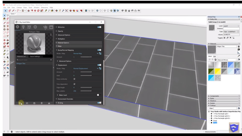 Surface Imperfection Maps in VRay to create Realistic materials in SketchUp