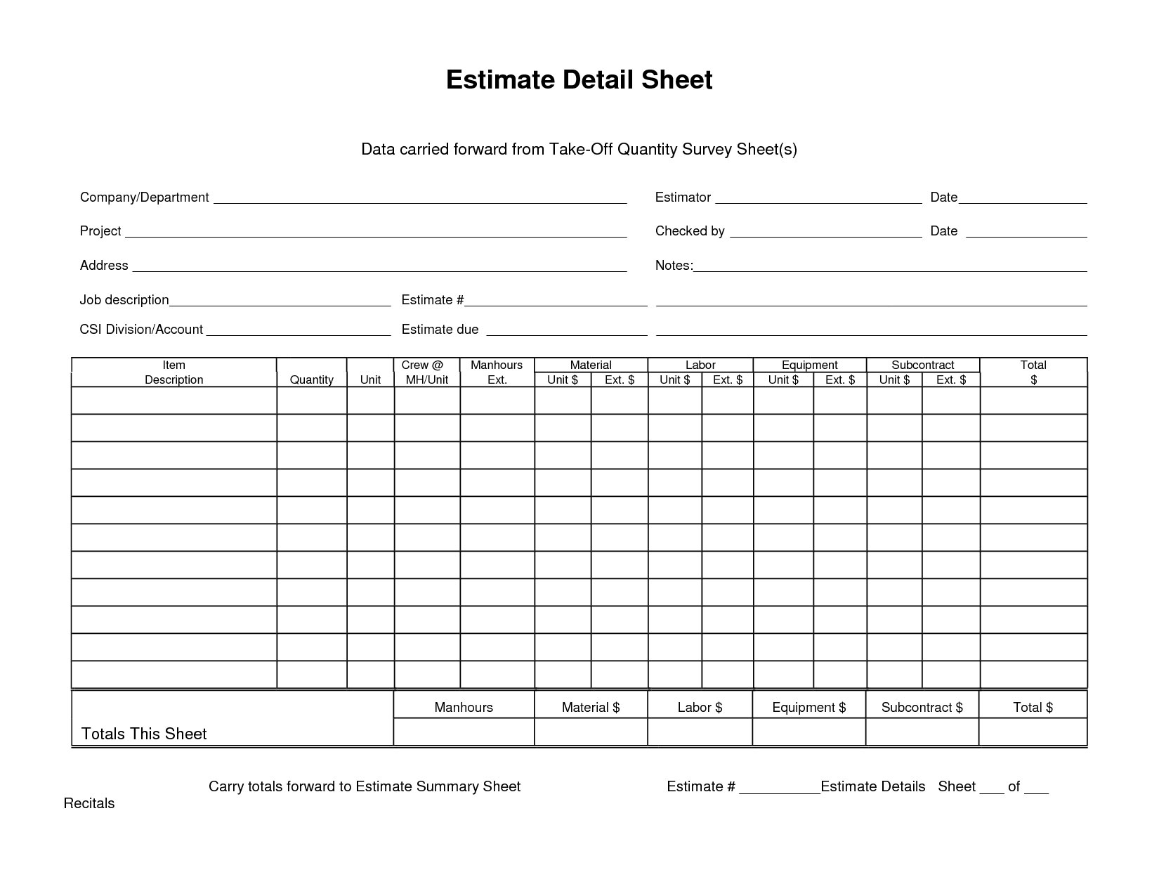 Estimate Detail Sheet