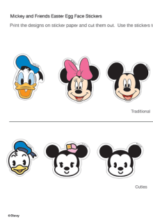 egg stickers mickey mouse easter face