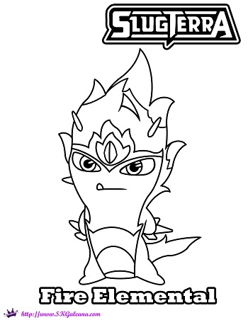 Fire elemental slug coloring page from slugterra skgaleana for Slugterra coloring pages burpy