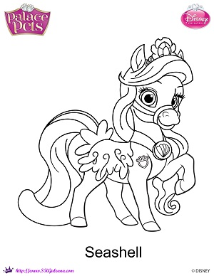 Printable Princess Palace pets coloring page of Seashell