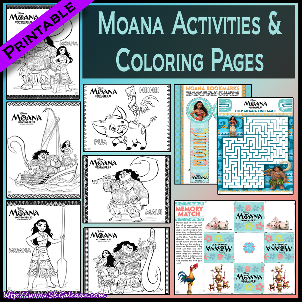 photograph regarding Printable Moana identified as No cost Printable Moana Routines and Crafts SKGaleana