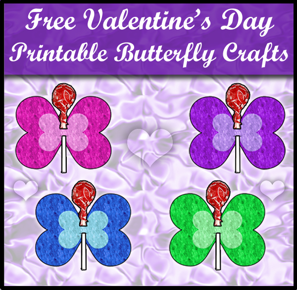 graphic regarding Printable Valentines Craft referred to as No cost Printable Valentines Working day Butterfly Craft SKGaleana