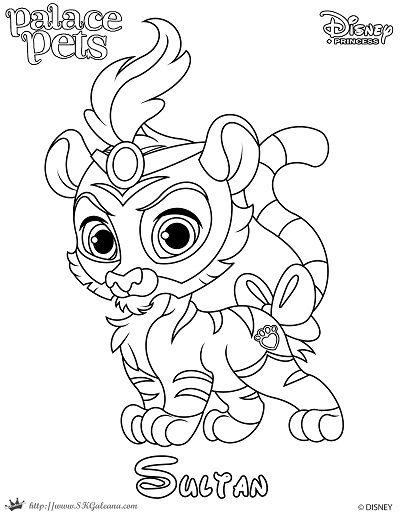Princess palace pet coloring page of sultan skgaleana for Princess pets coloring pages