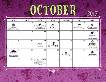 image regarding Disney Printable Calendar called Disney Spouse and children Oct 2017 Printable Calendar SKGaleana