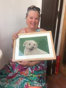Janice with he poodle portrait
