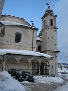 Basilica of Castel di Sangro in the snow