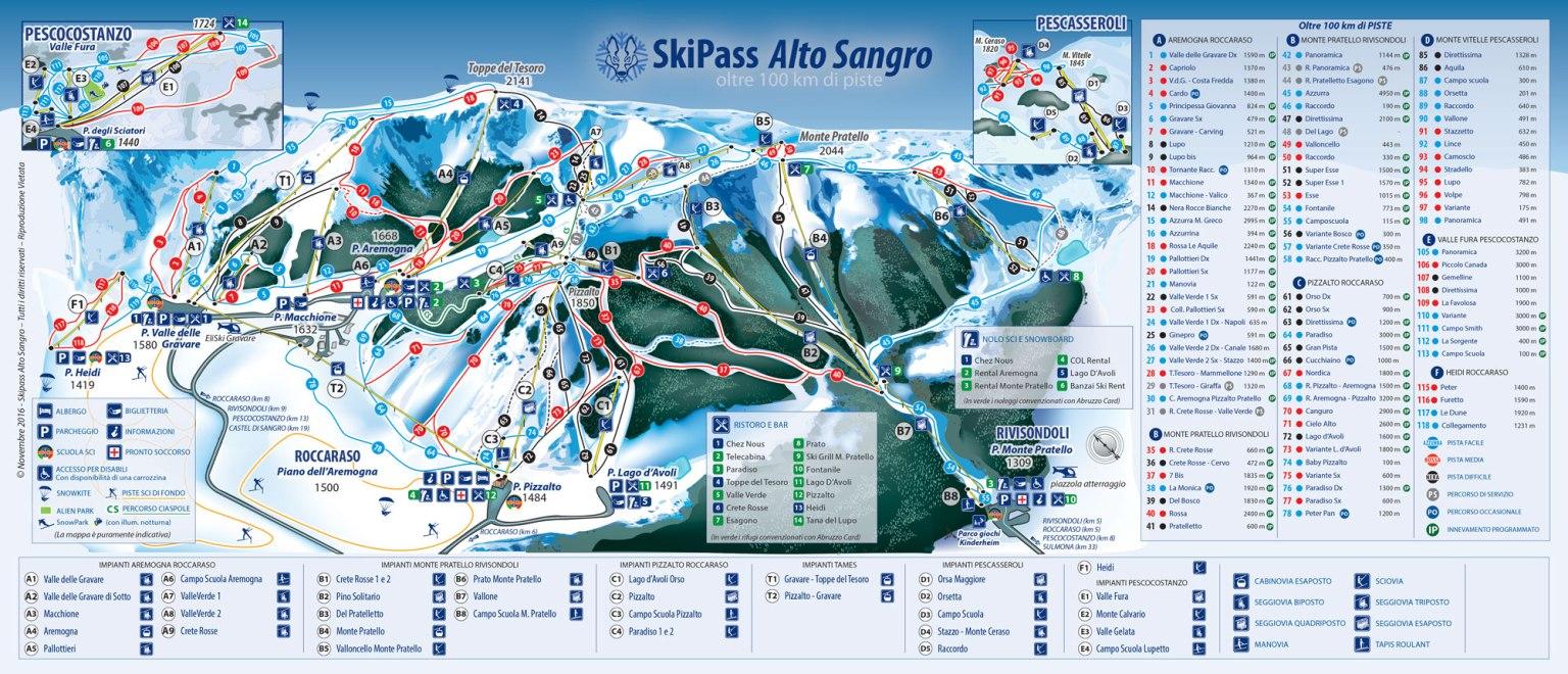 Alto Sangro Ski Map