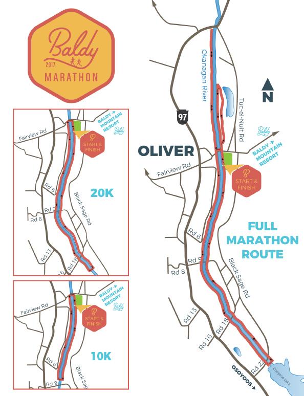 map of Baldy marathon route