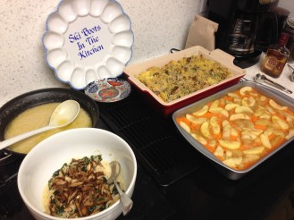 Sausage Stuffing, Sweet Potatoes and Caramelized Apples