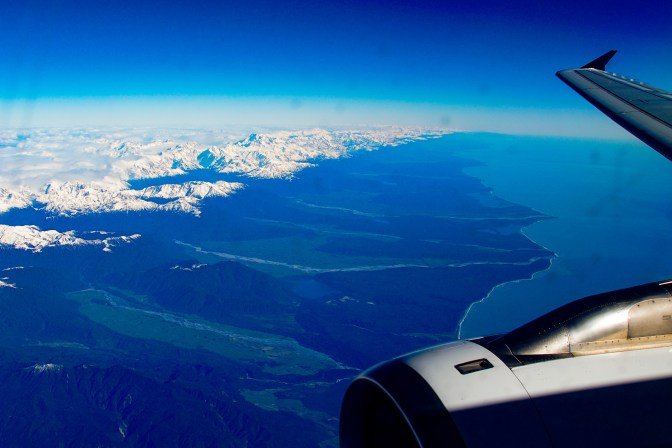 South Island's west coast with Mount Cook National Park's ridgeline