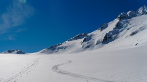 Best skiing on flat Brewster Glacier