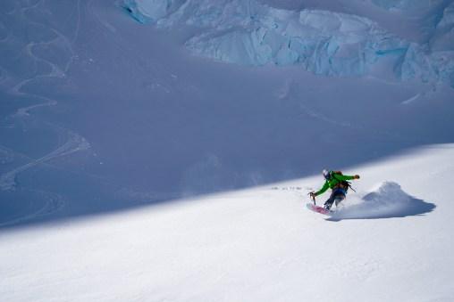 Michael enjoying the powder on Anna Glacier