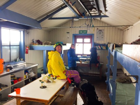 Joel & Michael inside Tasman Saddle Hut